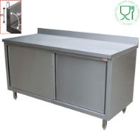 Table armoire neutre portes coulissants murale 1600x600xh880/900 tables armoires inox avec portes coulissantes