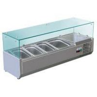 Vitrine a ingredients inox +2/+8°c verre droit 3 gn 1/3-150 + 1 gn 1/2-150 non compris