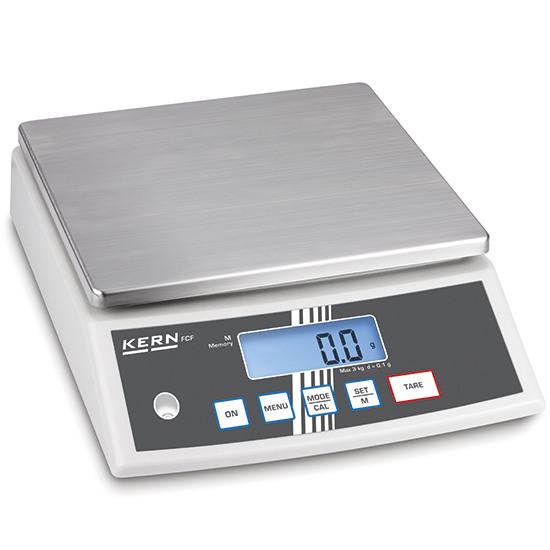 photo Balance de table en acier inox, charge utile maximum 3 kg, lecture 0,1 g