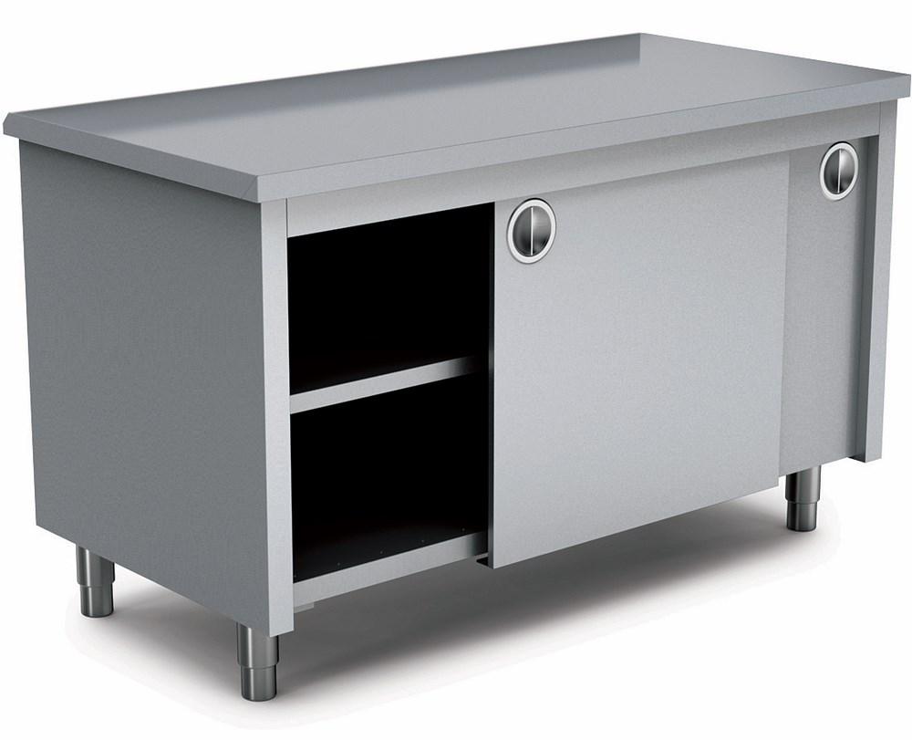 Table Coulissante Sous Plan De Travail table inox armoire avec portes coulissante, 1000x700 mm